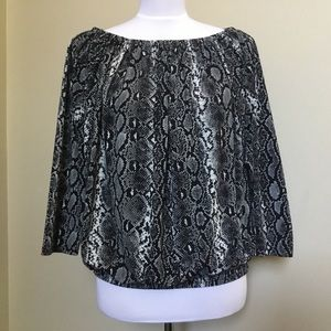 MICHAEL KORS blk gray Snakeskin Off Shoulder Top S